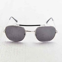 Metal Brow Bar Round Sunglasses- Silver One