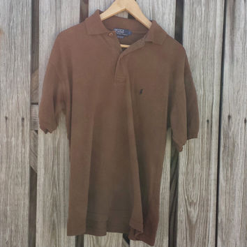 Vintage RALPH LAUREN Mens Polo Shirt - Mens Brown Rugby Shirt - Made in USA - Size M/L