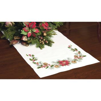 "Christmas Greens Dimensions Stamped Cross Stitch Table Runner 15""X44"""