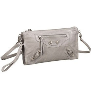Balenciaga Clutch Argent Silver With Silver Hardware 607834