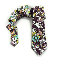 Plum Floral tie, Modern floral, Floral skinny tie , abstract floral, mens narrow tie, plum lavender white yellow coral pink turqouise blue