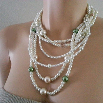 Layered Pearl Necklace - Ivory Cream Green Pearl Braided Wedding Necklace - Bridal Necklace