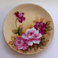 Norcrest Japan Handpainted Plate 8 1/2 inch Pink Red Roses Artist signed. China decorative plate. Floral Plate. Mothers Day gift.