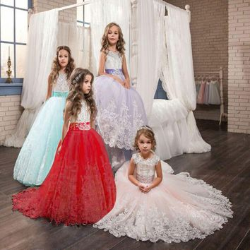 Sleeveless Long Gown Lace Flower Girl Dresses