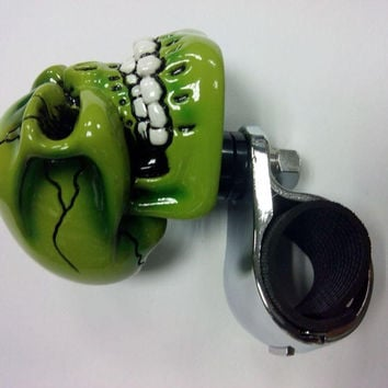 Green Ceramic Skull Head Car Steering Wheel Spinner Knob
