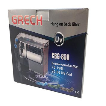 800L/h SUNSUN GRECH CBG-800 Hang-On Back Waterfall Filter with 5W UV Sterilizer 10-30 Gallon Aquarium Fish Tank Surface Skimmer