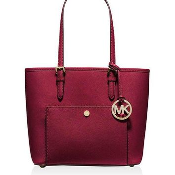DCK7YE MICHAEL KORS Jet Set Snap Pocket Tote Bag (Cherry)