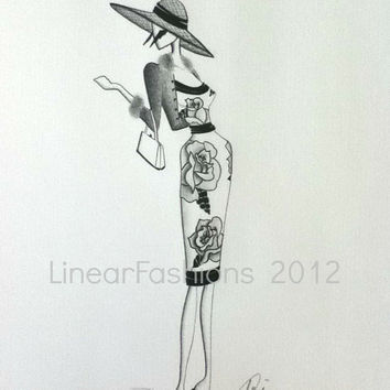 Fashion Art Illustration 1950s Rose Dress Black and Gray Decor or Gift