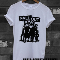 FOB shirt fall out boy logo t-shirt printed white unisex size (DL-91)