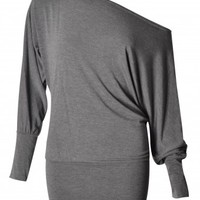 Ashley Charcoal Off Shoulder Long Sleeve Batwing Top | Shelikes