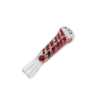 Handblown Glass Chillum Pipe - Blue and Red Swirls - 3 Inches