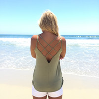 In This Skin Tank In Mermaid Olive