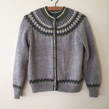 Fair Isle cardigan // 1960s Norwegian folk sweater // vintage 60s hand knitted cardi