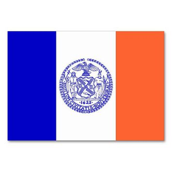 Patriotic table card with Flag of New York City
