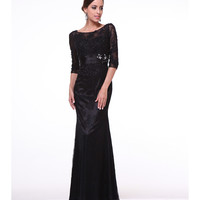 Black Sequin & Lace Full Length Dress 2015 Prom Dresses