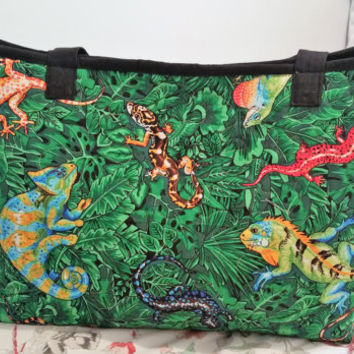 Large Extendable Tote Bag - Handmade Tote Bag - Lizard Tote Bag - Green Tote Bag - Lizards Print - Handbag Tote Bag - Market Tote Bag