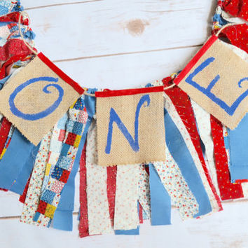 one banner - 1st birthday banner  - barnyard birthday party  - red white and blue banner - cowgirl birthday - country party - patchwork