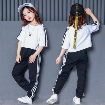 Child Loose Ballroom Jazz Hip Hop Dance Competition Costumes Girls White T Shirt Pants Stage wear Party Dancing Clothing Outfits
