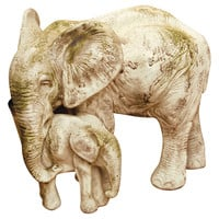 """18"""" Bull Elephant & Calf, Antiqued Stone, Outdoor Urns, Planters & Jardinieres"""