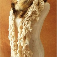 Fur winter scarves wool scarves Knit Wool