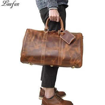 Men's Crazy horse leather travel bag Cow leather travel duffel luggage bag vintage bag Large Shoulder bag