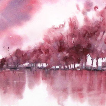 Landscape Art, Red Wall Art Abstract Watercolor Painting Artwork, Pink Print Wall Decor Him,Monochromatic Apartment Art,Impressionist 11x14