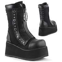 Clash 206 Black Front Zipper Goth Ankle Boot -Pre-Order