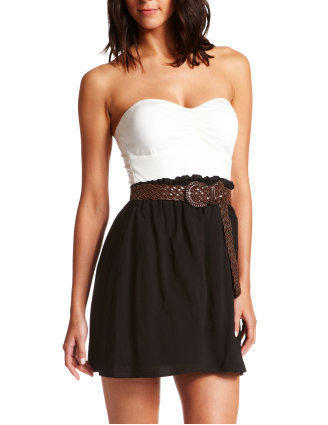 Charlotte Russe - Belted 2-Tone Tube Dress
