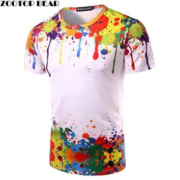 Splashed Paint Tops Summer T shirt Men Short Sleeve Novelty Printed 3D T-shirts  Personality Round Neck Tees ZOOTOP BEAR