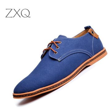 ZXQ Plus Size 38-47 Men Shoes Casual Summer Style Solid Color Breathable Men Flats Moccasins Loafers Chaussure Homme