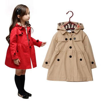 3-10Yrs autumn/winter girl jacket coat European Fashion girl Trench coat Korean fashion Jacket&Coat New Year Girls clothes