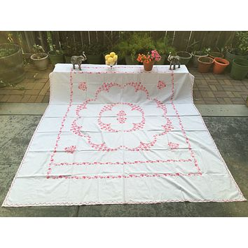 Hand embroidered bed spread