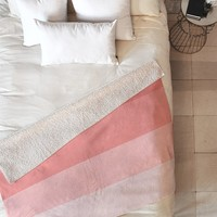 Shannon Clark Pink Stripe Ombre Fleece Throw Blanket