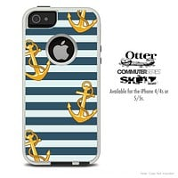 The Navy Striped With Gold Anchor Skin For The iPhone 4-4s or 5-5s Otterbox Commuter Case