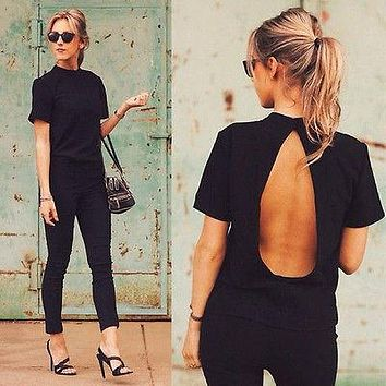 2016 new Cute Women Blouse 2016 Fashion black Open Back Sexy tops short Sleeve Shirt Women Summer Clothes Free shipping