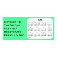2016 Pale Green Calendar by Janz 9x4 Magnet Magnetic Invitations