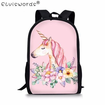 ELVISWORDS Cute Children School Bags For Kids 3D Unicorn Print Student Teenager Girls Book Bags Women Schoolbag Casual Mochila