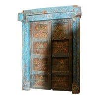 Distressed Blue Floral Indian Teak Double Doors