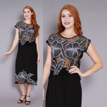 80s CUTWORK Mesh DRESS / 1980s Embroidered Floral Metallic 2pc Matching Skirt & Top Set