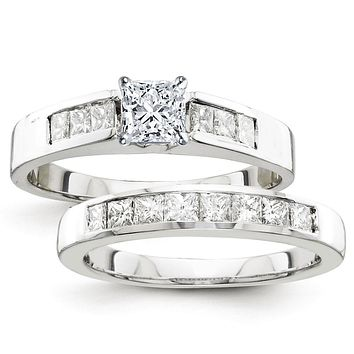 Certified 2.00 Ct. Princess Diamond Bridal Engagement Ring Set with Side Stones in 14K White Gold