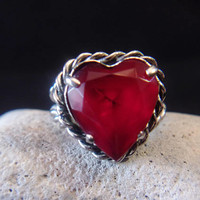 Red W. Germany Adjustable Ring Vintage Valentines Day Jewelry Fashion Accessories For Her