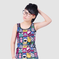 Character Print Sleeveless Tank Top