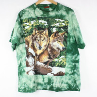 Vintage Wolves Graphic Print Tie Dye Shirt