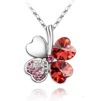 Lady Crystal Four Leaf Clover Pendant Necklace(Pink) from George-Danos