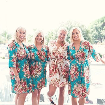 Bridesmaids robes Set of 4 Kimono Crossover Robes Spa Wrap Perfect bridesmaids gift, getting ready robes, Bridal shower party wedding favors