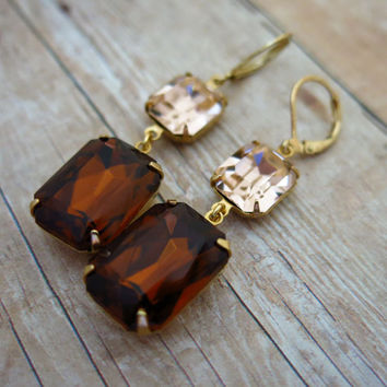Amber Earrings Peach Earrings Brown Earrings Topaz Earrings Gift for Her Fall Fashion Rustic Wedding Jewelry Bridal Jewelry Bridesmaids Gift