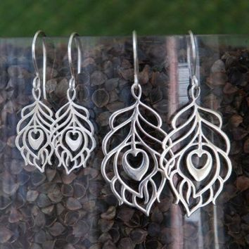 Sterling Silver Peacock Feather Earrings 2 Sizes