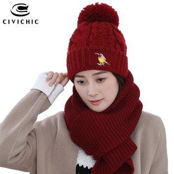 CIVICHIC Hot Fashion Autumn Winter Knit Hat Scarf Set Lady Warm Embroidery Headwear Thick Shawl Crochet Pompon Beanies Cap SH160
