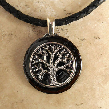 tree of life necklace: black - mens necklace - celtic jewelry - leather cord - mens jewelry - tree jewelry - boyfriend gift - spiritual