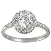 Alexandria Collection Sterling Silver Round Cut Bridal Engagement CZ Ring